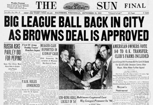 L'articolo del 29 settembre 1953 sul trasferimento a Baltimore per la stagione 1954 dei Browns da cui nacquero gli Orioles