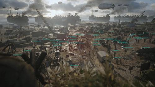 Im Hauptquartier von Call of Duty WW2 sammelt sich die Online-Meute, um sich unter anderem zu einer Mehrspieler-Partie mit anderen Spielern zu verabreden.