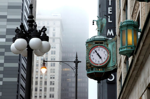 Lanterns, clocks and fog in Downtown Chicago