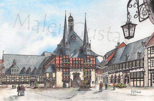 Das Rathaus von Wernigerode 1990