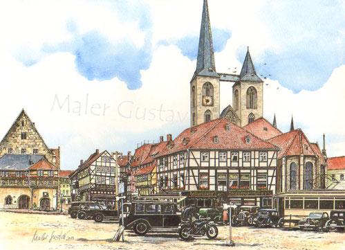 Der Fischmarkt von Halberstadt um 1930. Das Rathaus und die Martinikirche.