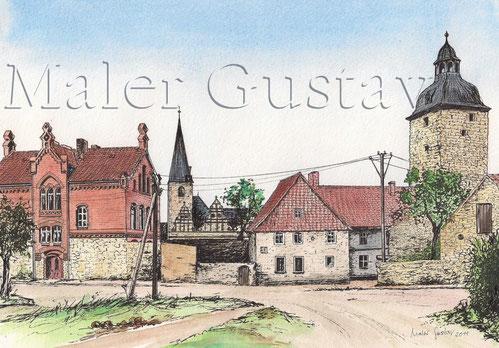 Kroppenstedt um 1930 mit der Schule, Kirche, Armenhaus und Eulenturm