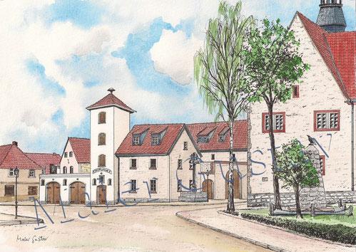 Das Rathaus von Kroppenstedt mit der alten Feuerwache auf dem Platz vor dem Rathaus.