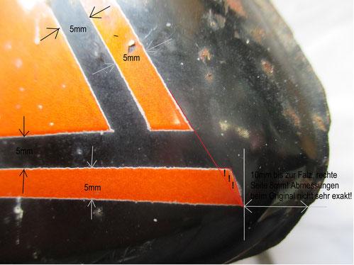 Am hinteren Ende des Tanks, dort wo die Sitzbank anschließt, erkennt man die Dekorunterschiede am deutlichsten.