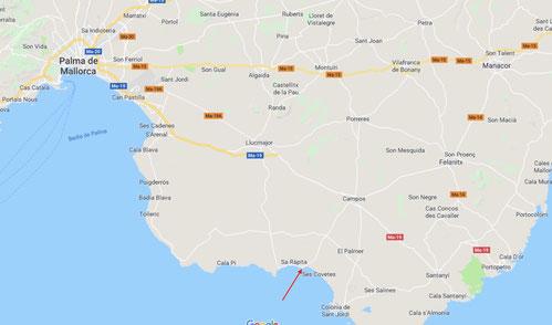 Karte Mallorca mit Es Trenc