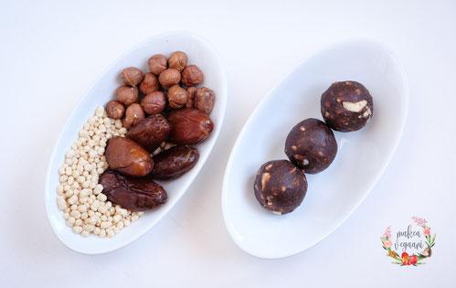 kleine kraftpakete mandel-chia, getrocknete aprikosen, mandeln, lupinenprotein, chia samen