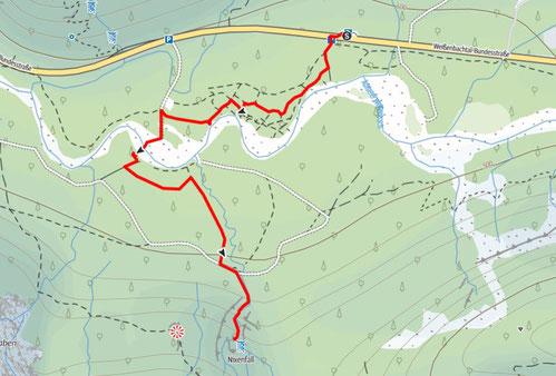 Route vom Weißenbachtal zum Nixenfall