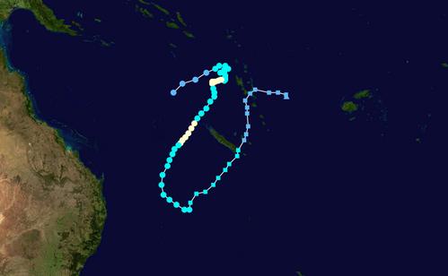 Forecast track map of Tropical Cyclone Oma (22/02/2019). From www.bom.gov.au