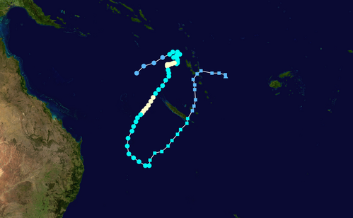 Forecast track map of Tropical Cyclone Oma (22/02/2019). Image courtesy Michael Bath, Jimmy Deguara and David Croan Australian Severe Weather http://www.australiasevereweather.com