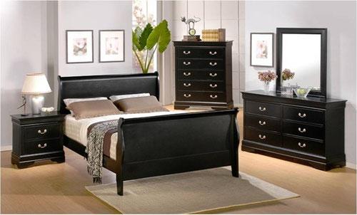 Recamara moderna cama Queen 6 piezas Louis Phillipe Negro ...