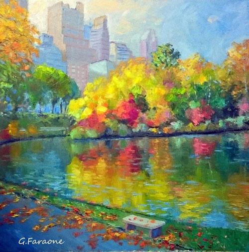Central Park NY olio su tavola Giuseppe Faraone