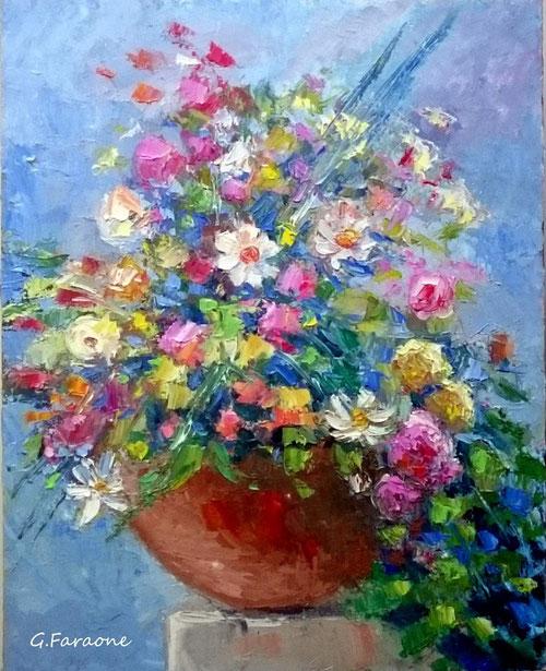 Vaso con fiori olio su tela 50x40 Giuseppe Faraone