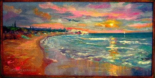 """""""Tramonto"""" Olio su tavola 120x60 - olio di Giuseppe Faraone, il poeta dei colori"""