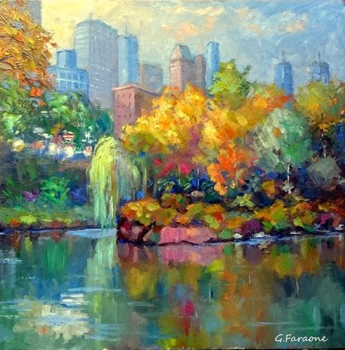 Central Park NY 2 olio su tavola Giuseppe Faraone
