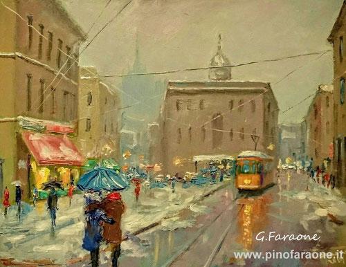 Tram in piazza Cordusio Milano, dipinto