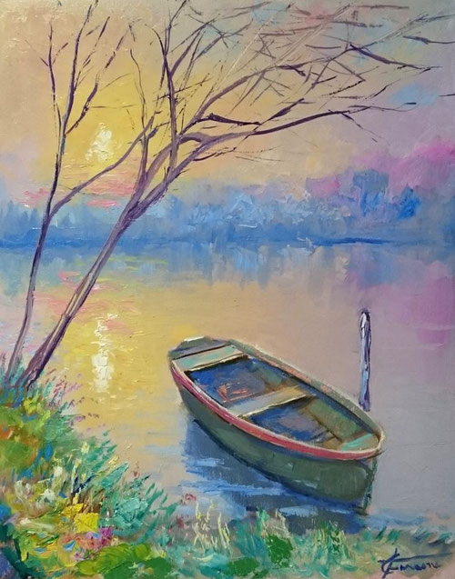 Barca a riposo, Impressionismo moderno,  Giuseppe Faraone