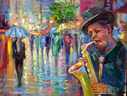 Il sassofonista dipinto