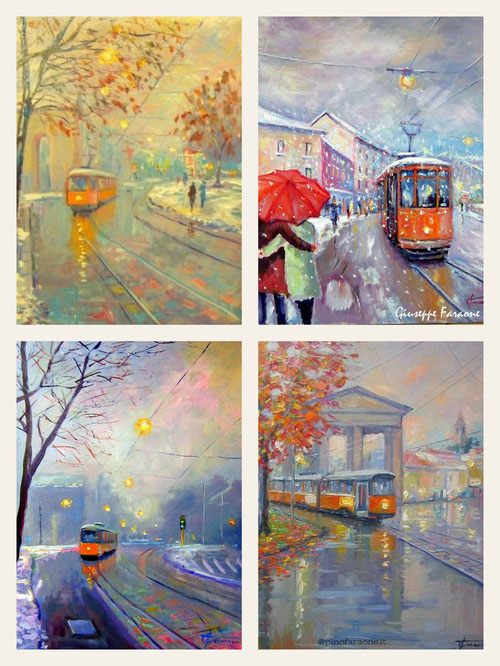 Tram a Milano dipinti