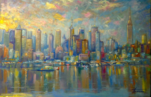 New York City Skyline, manhattan dipinto di giuseppe faraone