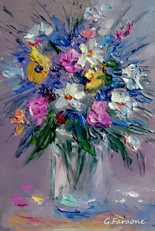 fiori dipinto a spatola di Giuseppe Faraone
