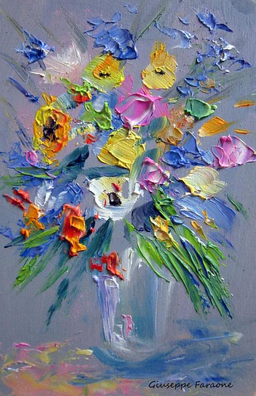 vaso di fiori olio di Giuseppe Faraone