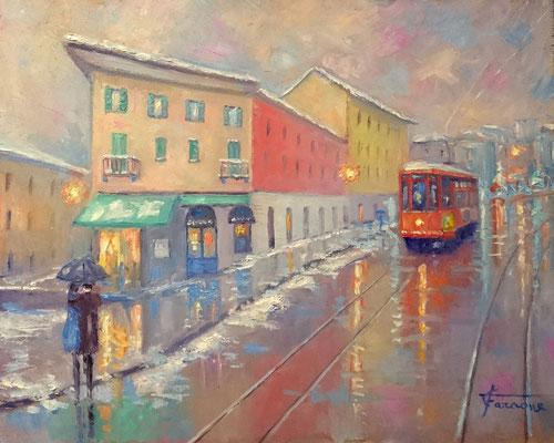Tram a Milano in viale Gorizia , dipinto di giuseppe Faraone