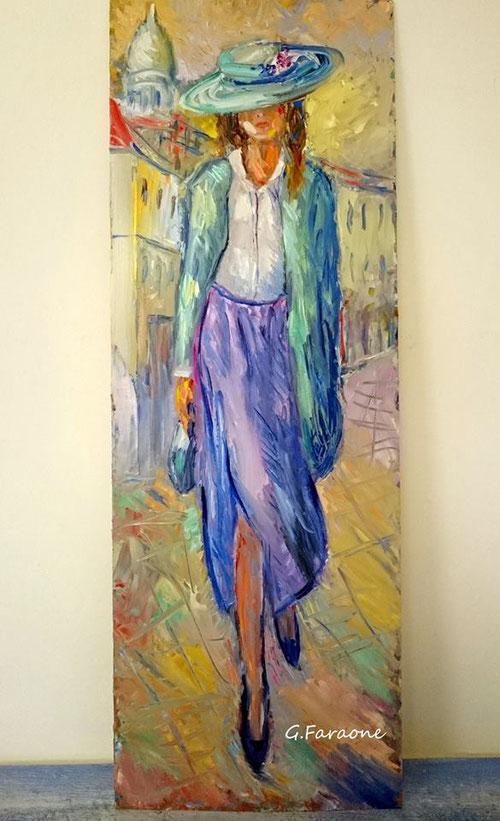 """""""La ragazza di Montmartre"""" olio su tavola cm 31x87 (Codice 111 )"""