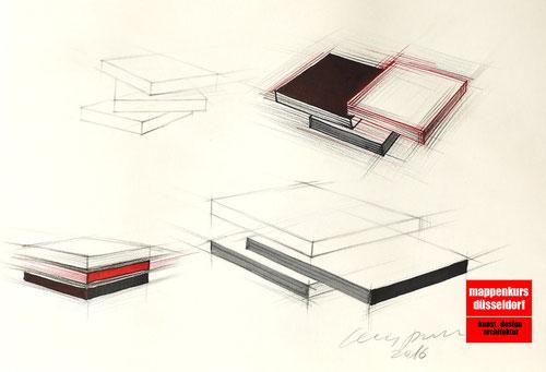 Möbeldesign, Möbelzeichnen, Mappenkurs Düsseldorf NRW