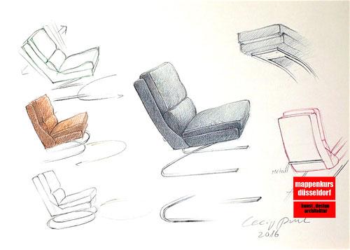 Mappenkurs Möbeldesign, Möbelzeichnen, Möbeldesignstudium,  Mappenkurs Düsseldorf NRW