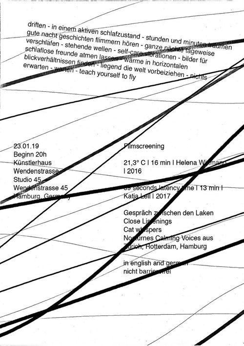 Time of Flight, Januar 2019, Studio 45 Künstlerhaus Wendenstrasse Hamburg, gemeinsam mit Helena Wittmann – Flyer