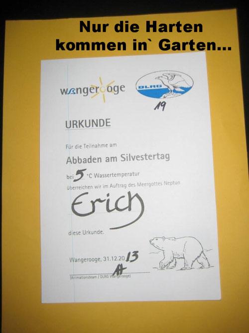 Erich B. Ries Urkunde schwimmen