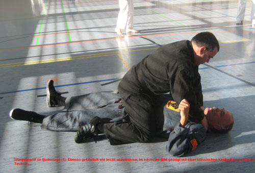 Das Bild zeigt Erich B. Ries (Bodenlage) bei der Selbstverteidigung (1. Bundeslehrgang der Kenko Kempo Karate Organisation in Blankenhain 11/2014)