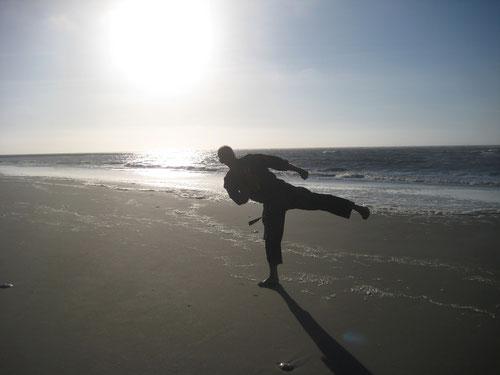 Seitwärtstritte gibt es im Kempo Karate nur bis Gürtelhöhe