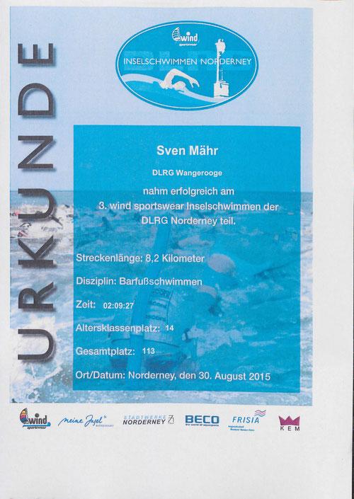 Teilnehmer-Urkunde Sven Mähr 3. wind sportswear Inselschwimmen der DLRG Norderney 2015