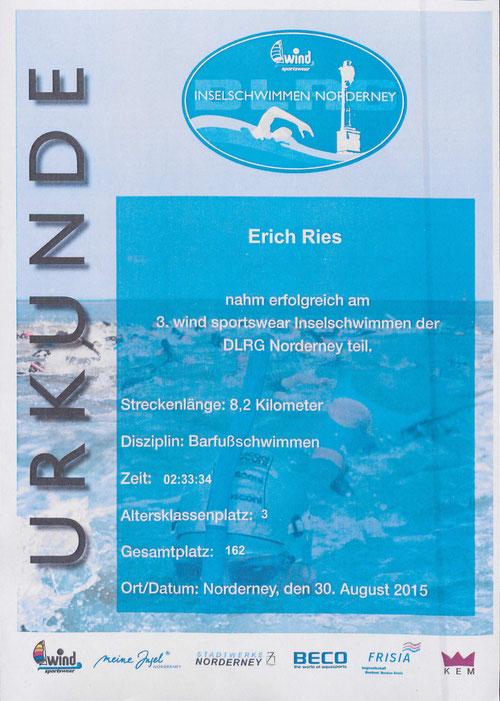 Teilnehmer-Urkunde Erich Ries 3. wind sportswear Inselschwimmen der DLRG Norderney 2015