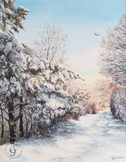 Schneewesen, 70x90 cm, Öl auf Leinwand