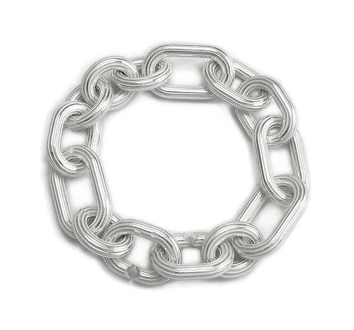 Silberarmband Riefen Riefenstruktur unterschiedliche Ösen