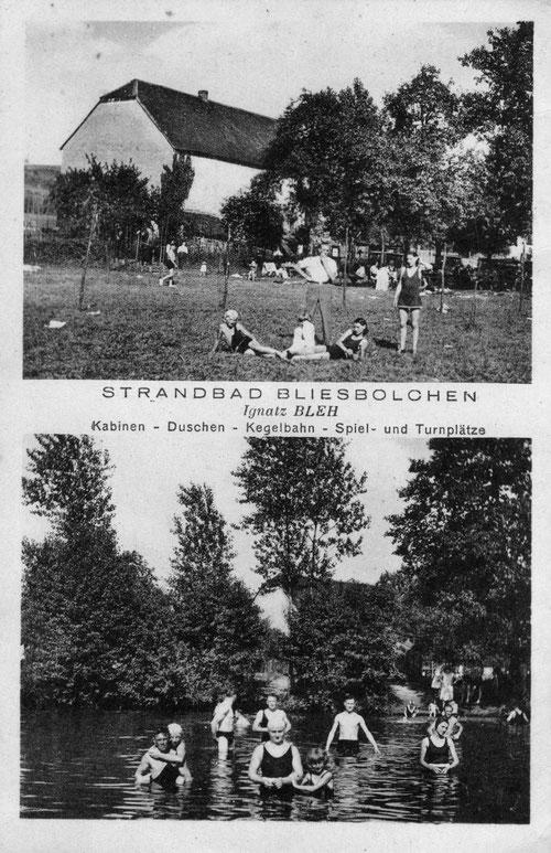 """Ansichtskarte des Strandbads Bliesbolchen, später Gaststätte """"Zur Bliesschenke"""", aus den 1930er-Jahren"""