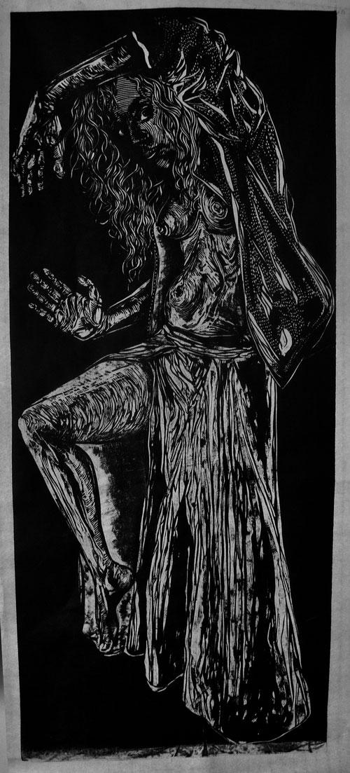""""""" Peut-être son nom est-il Baubô ? """" (xylographie, 93 / 39.5 cm, 2016 )"""