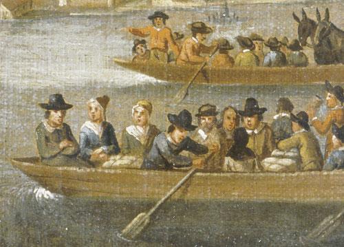 Historische Darstellung der Fahrt auf Weidlingen im 17. Jhd.