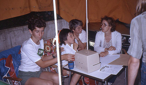 Zeitkontrolle bei der Rallye Vorderpfalz 1982  - Familie Muth und Seither