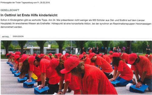 Bericht Tiroler Tageszeitung online 18.03.2016
