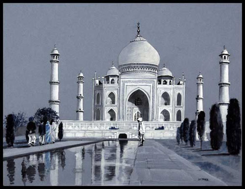 Taj Mahal( India), inks 25 x 32.5 cm, by Nadine Le Prince