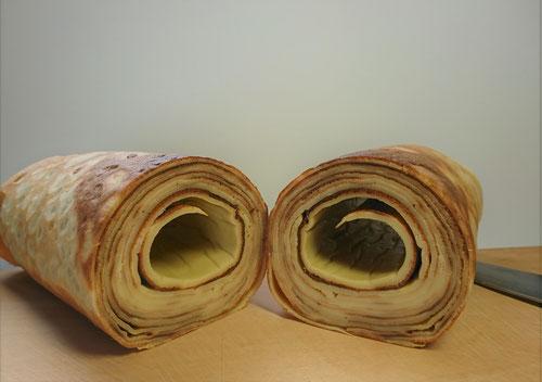 鉄板 バームクーヘン バウムクーヘン 手作り 自家製 自作 作り方 レシピ オサエちゃん 鉄板焼き アツアツ