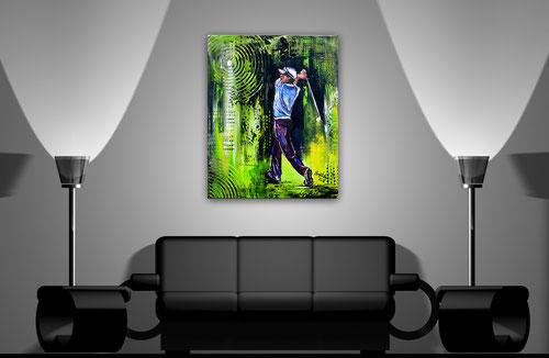 Wohnbeispiel - Golfspieler - Golfturnier Gemälde - Abschlag Golf Acrylbild