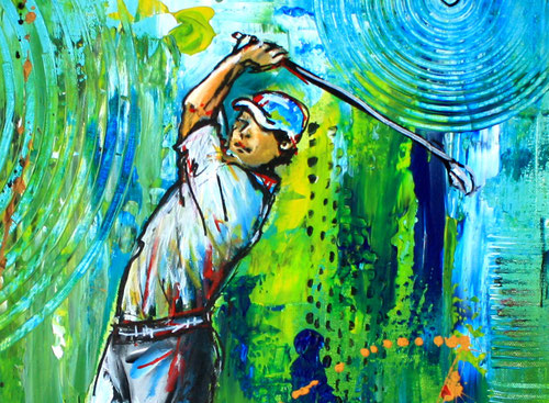 Bildausschnitt - Golfspieler - Golfturnier Gemälde - Abschlag Golf Acrylbild