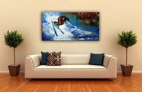 Wohnbeispiel - Skifahrer Bild abstrakt - Skiing Gemälde - Skiläufer -