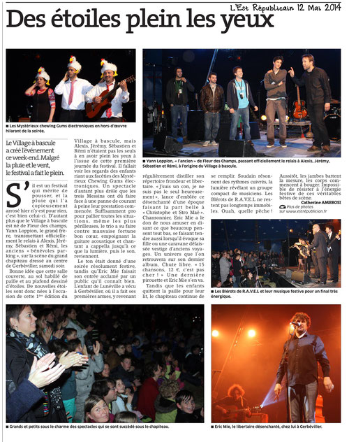 "Article suite au concert au ""Village à Bascule"""
