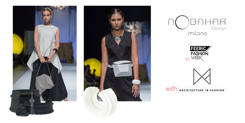 Nobahar design Milano contemporary jewelries on feeric fashion week runaway