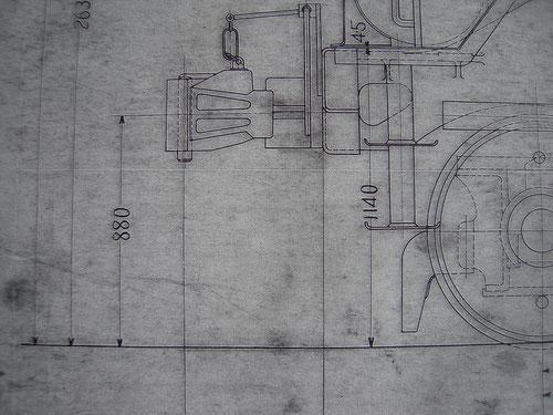 先頭部の連結器の高さは880mm。炭水車とは30mmの差があります。